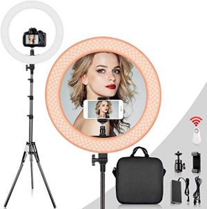 "Eyuvaa 18"" Ring Light with 80"" Light Stand, Bluetooth Remote Dimmable LED Ring Light with 360° Rotatable Phone Holder, Carrying Bag for Video Shooting, Make Up"