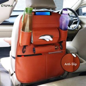 PU Leather Multifunctional Car Back Seat Storage Organizer with Tissue Box, Tablet, Bottle, Umbrella Holder Pockets (Tan)