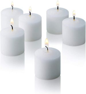 Wax Votive Candles 8 Hours Burning Unscented Ideal for Birthday Aromatherapy Party Candle Gardens & Home Décor (Set of 12, White)