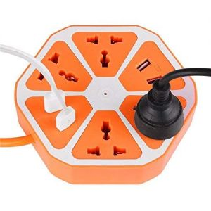 10 ampere Extension Board with 4 USB/Outlet Ports with 6 ft Surge Protection 2500W Multi-Faceted Safety Sockets (Orange Blue)