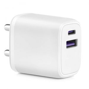 EYUVAA Dual Ports USB Type C Charger | 20W Fast PD/Type C Power Adapter Charger for iPhone, Airpods, iPads & other Compatible Smartphones (White)