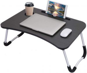 Wooden Multipurpose Laptop Table, Portable Study Bed Table, Breakfast Serving Bed Tray with Cup Holder & Mobile Tablet Holder (Black)