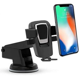 360 Degree Rotation One Hand Operation Long Neck Car Phone Mount, Dashboard and Windshield CellPhone Holder for All Smartphones (Black)