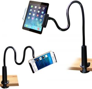 Universal Gooseneck Phone Holder, Flexible Long Arm Lazy Tablet Stand Mobile Stand Compatible with All Smartphones and Tablet (Black)