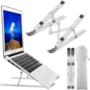 EYUVAA LABEL Laptop Stand Foldable Adjustable for Table Desk, Portable Ergonomics Super Strong Aluminium Stand for all Laptops & Tablets (Silver)