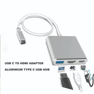 USB C to HDMI Adapter Aluminium Type C USB hub 3.1 to HDMI 4K/USB 3.0/USB C 3 in 1 Converter Cable Charging Port Adapter Cable