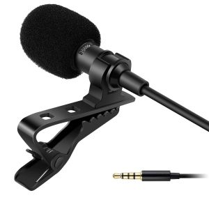 EYUVAA Premium 5 feet Lavalier Microphone Collar Mic for Mobile Recording, Condenser Mic for Smartphones, PC, Recording Youtube, Interview, Video Conference (Black)
