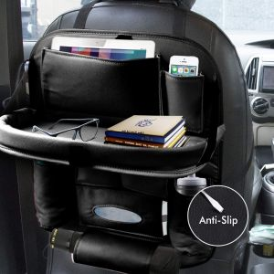 Car Back seat Organizer with Foldable Dining Table Tray & Waterproof Storage Pockets (Black)