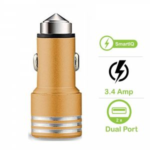 EYUVAA Aluminium Alloy Car Power Charger 3.4A Dual USB Fast Quick Charging for All Smartphone, Tab, Camera & Other Devices (Gold)