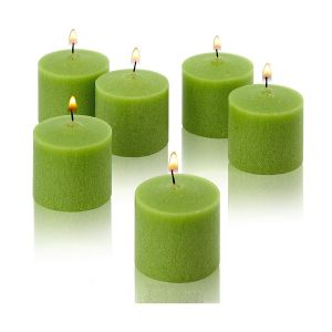 Wax Votive Candles 8 Hours Burning Unscented Ideal for Birthday Aromatherapy Party Candle Gardens & Home Décor (Set of 12, Green)