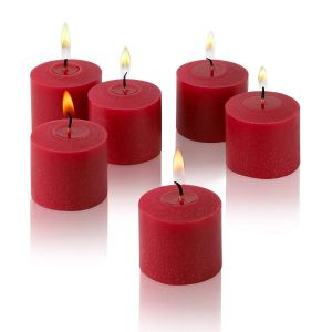 Wax Votive Candles 8 Hours Burning Unscented Ideal for Birthday Aromatherapy Party Candle Gardens & Home Décor (Set of 12, Red)