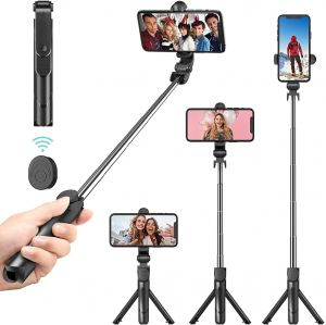 EYUVAA Tripod Mobile Stand & Selfie Stick with Bluetooth Remote, Extendable Tripod Stick & Portable Tripod for all Smartphones (Black)