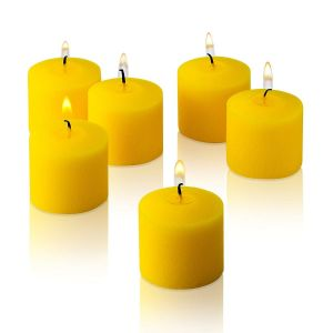 Wax Votive Candles 8 Hours Burning Unscented Ideal for Birthday Aromatherapy Party Candle Gardens & Home Décor (Set of 12, Yellow)