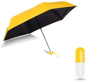 EYUVAA Mini Compact Portable Umbrella with Capsule Case | UV Protection from Sun & Rain for Office, Market, Travel (Yellow)