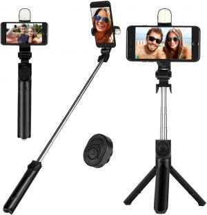 EYUVAA Tripod Mobile Stand & Selfie Stick with LED Light & Bluetooth Remote, Extendable Tripod Stick & Portable Tripod for all Smartphones (Black)