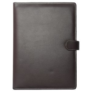 EYUVAA Conference Folder PU Leather File 5 Pockets with Magnetic Button Lock with Classic Elegant Desing for Documents Offices Home Schools Colleges (A4, Dark Brown)