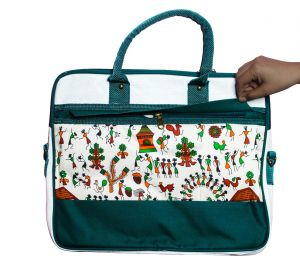 EYUVAA Professional Laptop Women Messenger Bag, Multi-Compartment And Beautiful Painting On Front Or Back Side (Green/White)
