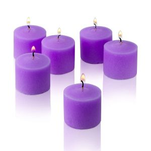 Wax Votive Candles 8 Hours Burning Unscented Ideal for Birthday Aromatherapy Party Candle Gardens & Home Décor (Set of 12, Purple)