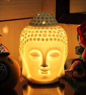 EYUVAA Electric Portable Ceramic Buddha Head Shape Diffuser for Essential Aromatherapy Oil Burner with Dimmer Switch to Control Fragrance and Light Intensity (White, 10ml Aroma Oil)