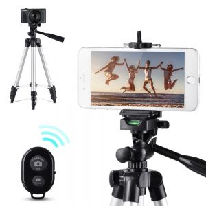 "40"" Aluminium Tripod Stand with Camera Shutter Remote & Universal Phone Mount"