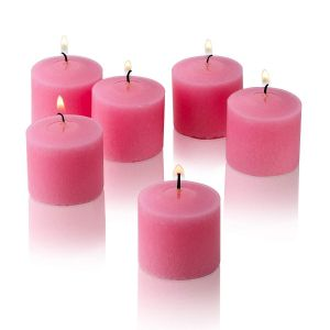 Wax Votive Candles 8 Hours Burning Unscented Ideal for Birthday Aromatherapy Party Candle Gardens & Home Décor (Set of 12, Baby Pink)