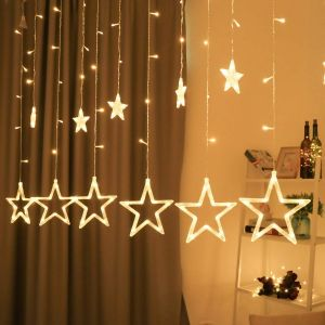 6x6 Feet Balcony, Window Curtain 12-Star 145 LED, 8 Modes Star String Lights for Home Decor Diwali Decoration Lights (Warm White, 12 Stars, 145 LED)