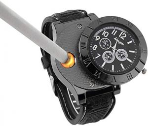 EYUVAA 2 in 1 Rubber Strap Analogue Quartz Black, White Dial Men's Wrist Watch with USB Rechargeable Windproof Cigarette Lighter