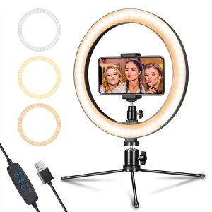 "Desk Makeup Ring Light 10"" with Tripod Stand and Phone Holder for Video, Photography Shooting"