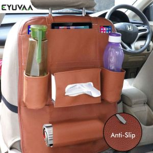Car Back Seat Organizer PU Leather Multi Pocket Backseat Storage with Tissue, Water Bottle, Tablet and Document Holder (Tan)