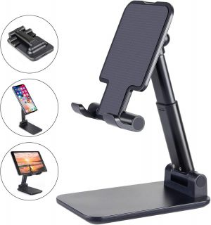 Premium Smart Foldable Mobile Stand for Table and Bed, Height Adjustable Universal Phone Holder for All Smartphones & Tablet (Black)