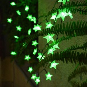 30 LED 10M Star Shape LED String Lights Multi Color Fairy Lamp for Christmas Diwali Birthday Wedding Decoration (Green)