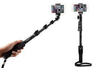 Universal Smartphone Mount with Bluetooth Operated Extendable Selfie Stick and Wireless Remote