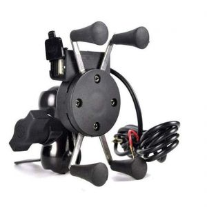 EYUVAA Spider Bike Mobile Holder with Charger - X Grip Spider Universal Motorcycle Car 360 Degree Rotating Bike Phone Holder with USB Charging for All Smartphones (Black)