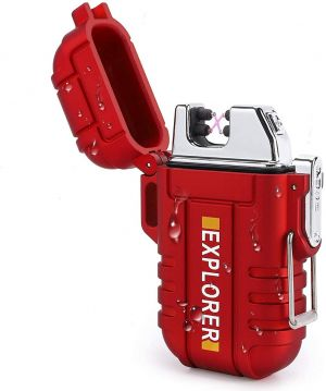 EYUVAA Dual Arc Waterproof Cigarette Lighter for Men Stylish, USB Rechargeable Windproof Shockproof Flameless Plasma Lighter for Outdoor, Smoking, Camping, Hiking, Adventure (Red)