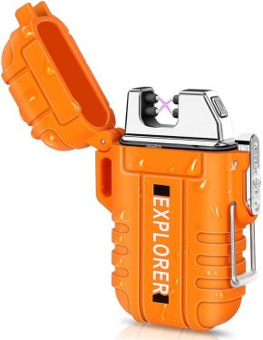 EYUVAA Dual Arc Waterproof Cigarette Lighter for Men Stylish, USB Rechargeable Windproof Shockproof Flameless Plasma Lighter for Outdoor, Smoking, Camping, Hiking, Adventure (Orange)