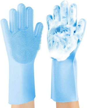 EYUVAA Reusable Silicone Dishwashing Gloves, Pair of Rubber Scrubbing Gloves for Dishes, Wash Cleaning Gloves with Sponge Scrubbers for Washing Kitchen, Bathroom, Car and More (Multicolor)
