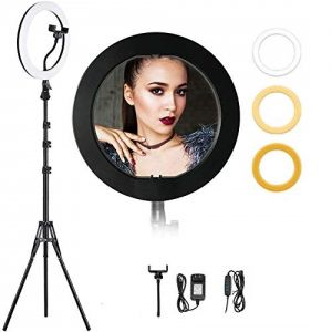 "14"" Ring Light with 70"" Tripod Stand, Remote & Cell Phone Holder Desktop Lamp Light for YouTube Video Shoot and Live Makeup"