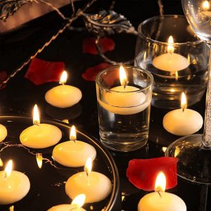 EYUVAA Wax 4 Hrs Burning Floating Candles for Decoration, Unscented Smokeless Dripless Candles for Diwali, Cylinder Vases, Wedding, Party, Pool, Festival (White, Set of 20)