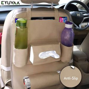 Car Back Seat Organizer PU Leather Multi Pocket Backseat Storage with Tissue, Water Bottle, Tablet and Document Holder (Beige)
