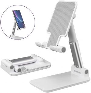 Smart Foldable Mobile Stand for Table and Bed, Height Adjustable Universal Phone Holder for All Smartphones & Tablet (White)