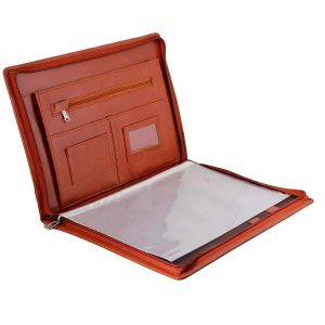 EYUVAA Professional Executive Waterproof Leather Certificate and Documents Organizer File with Pockets, Zip Closure and Card Holder -B4, 20 Leafs (Tan)