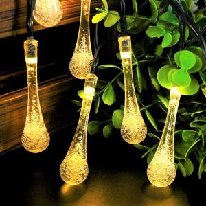 Crystal WaterDrop Shape LED Decorative Fairy Light, 18 Bulb 8 Meter Long LED String Lights for Decoration for Diwali Home, Festival ( Warm White)