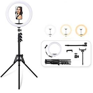 "12"" Ring Light with 70"" Tripod Stand with Remote & Phone Holder Kit for YouTube Instagram Video Shoot and Live Makeup"