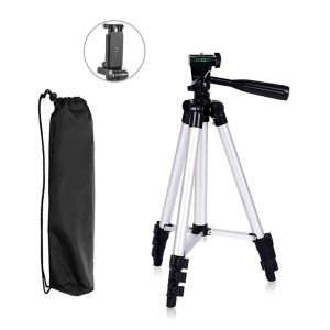 EYUVAA 3110 Foldable Camera Tripod with Mobile Clip Holder Bracket (Black)