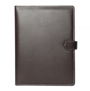 EYUVAA PU Leather Conference File Folder for Document/offices/home/schools/colleges 5 Compartment with Magnetic Button Lock (SIZE A4) (DARK BROWN)