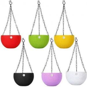 EYUVAA Plastic Flower Pot With Hanging Chain, Multicolour Pot Diameter -7.1 Inch, Pot Height -4.8 Inch, Pot Thickness -3 mm, Chain Length -13 inch approx., SET OF 5
