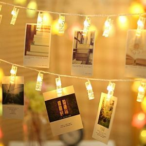 EYUVAA 10 Photo Clips Lights Home Decoration Wram White Lights for Hanging Photos,Cards and Artwork