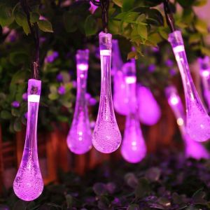 EYUVAA Crystal WaterDrop Shape LED Decorative Fairy Light, 18 Bulb 8 Meter Long LED String Lights for Decoration for Diwali Home, Festival( Pink)
