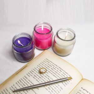 Paraffin Indian Scented Wax Jar Candle Set Pack of 3 for Diwali (Lavender, Vanilla & Rose) for Decoration, Birthday, Party, Celebration and Much More